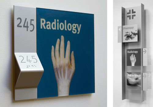 Highly-accessible signage uses clear typography, pictograms, and Braille/raised lettering