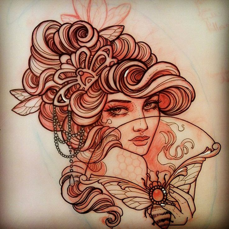 Frau | Biene | Fächer | Gesicht | Frauengesicht | Face | Women | Frisur | Hochsteck | wellig | Haare | Kette | Bee | Schmuck | Girl | traditional | Design | Schulter | verkaufe Tattoo | Vorlage | Tattoovorlage