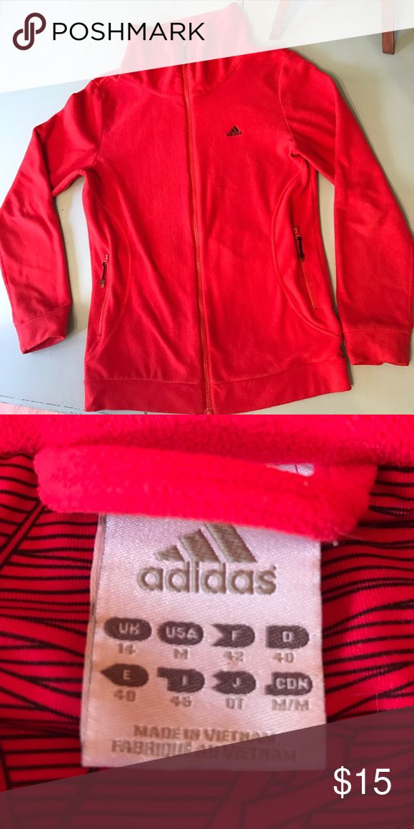 Adidas Red Fleece Sweater! Great condition, red Adidas fleece sweater! No rips or stains. Love this sweater but too small for me. Make me an offer or bundle and save! Thanks for looking! Xoxxo Adidas Jackets & Coats
