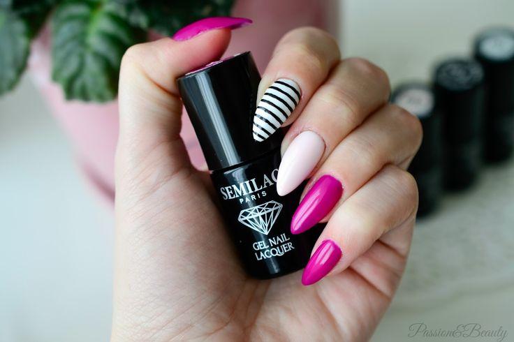 Passion&Beauty: Manicure hybrydowy Semilac - kreski i kropki