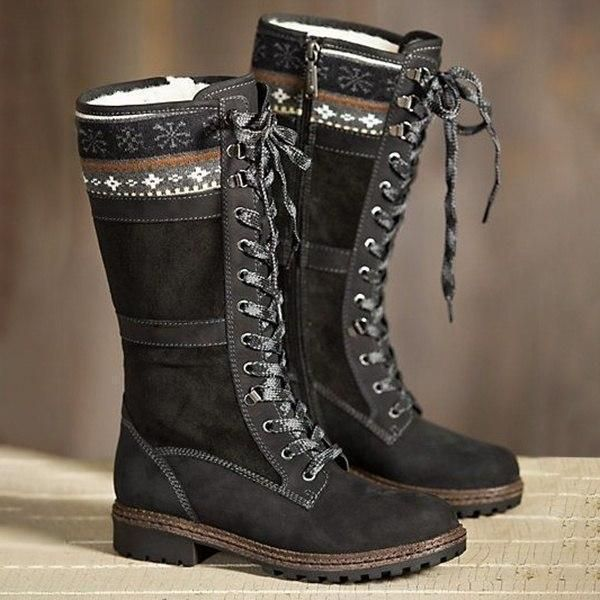 a61a9df3063e Large Size Winter Suede Warm Lace Up Zipper Mid-calf Boots - Banggood Mobile