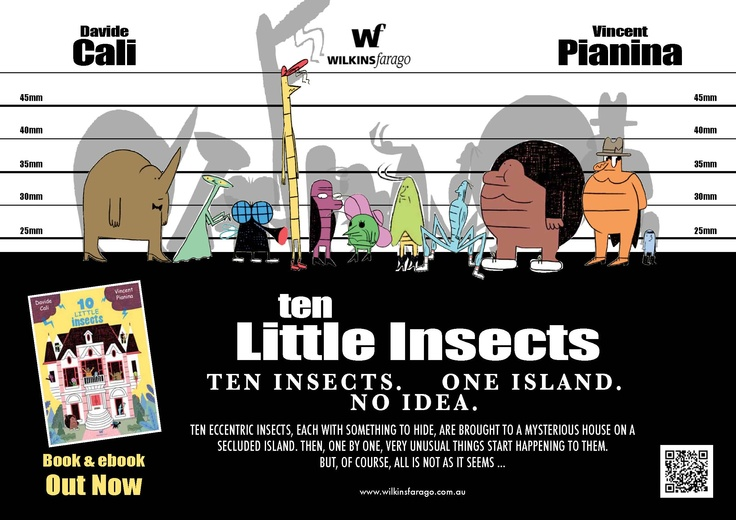 Poster for '10 Little Insects', inspired by the classic 'The Usual Suspects' film poster.
