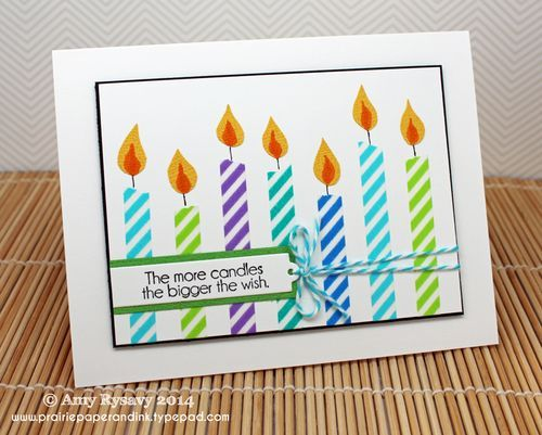 Washi Tape Candles Card - Prairie Paper and Ink