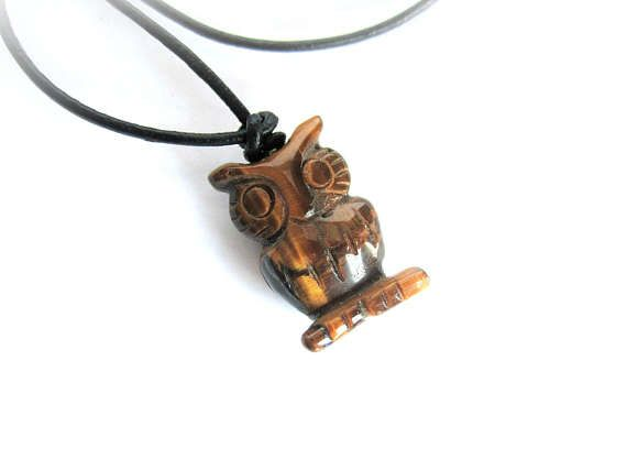 Owl pendant necklace tiger eye pendant gemstone pendant