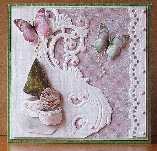Voorbeeldkaart - kaart in roze met groen - Categorie: Stansapparaten - Hobbyjournaal uw hobby website