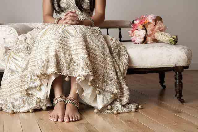 Neutral colored Lengha | @BirdsandHoney and Tegan Martin-Drysdale Photography | see more on: http://burnettsboards.com/2014/05/vintage-glam-bollywood-wedding/
