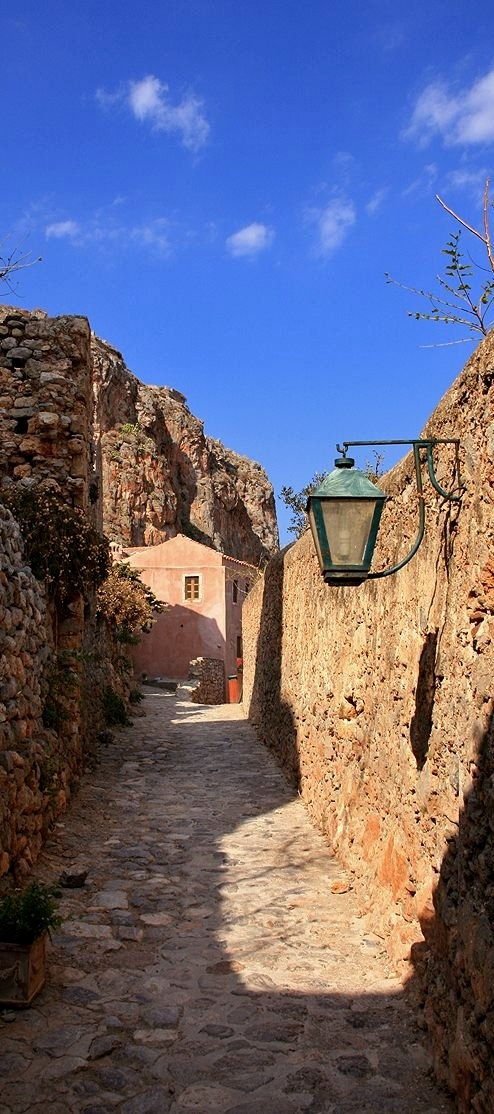 """Walking inside the castle"".. Medieval Monemvasia  Peloponnese Greece | Makis Siderakis via Flickr"