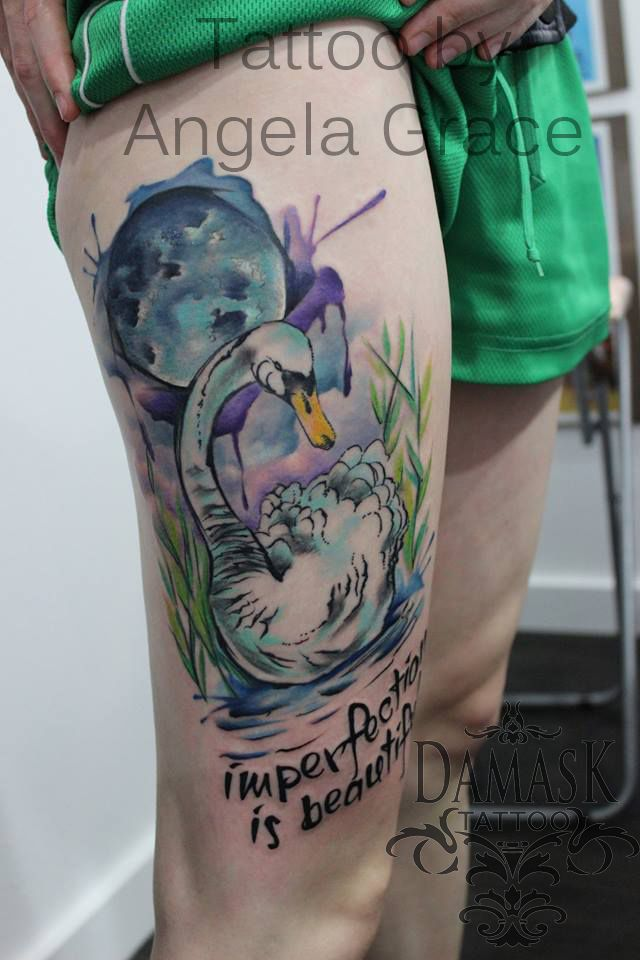 watercolor tattoo swan with moon imperfection is beautiful tattoo done by angela grace at. Black Bedroom Furniture Sets. Home Design Ideas
