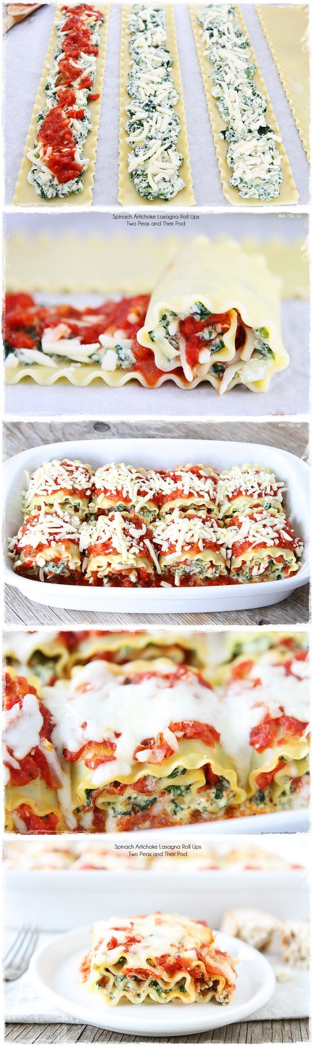 """Spinach Artichoke Lasagna Roll Ups 
