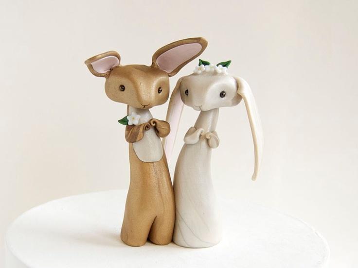 Bunny Rabbit Wedding Cake Topper by Bonjour Poupette. $110.00, via Etsy.