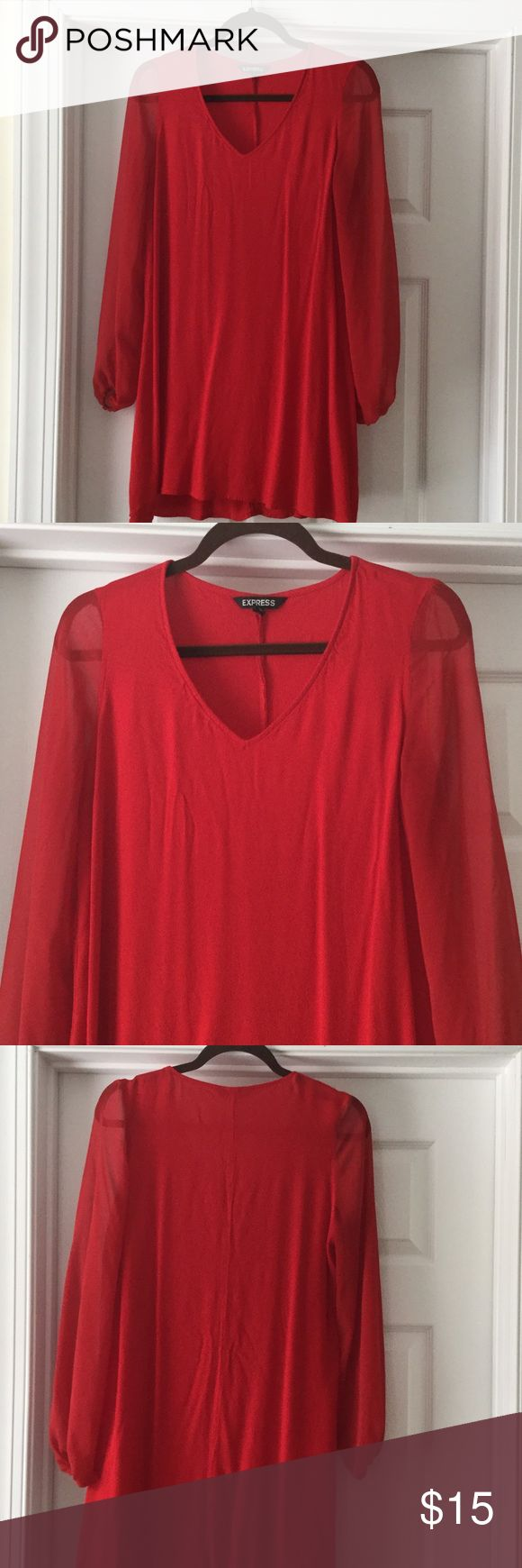 Red tunic Red tunic with shear sleeves Express Tops Tunics