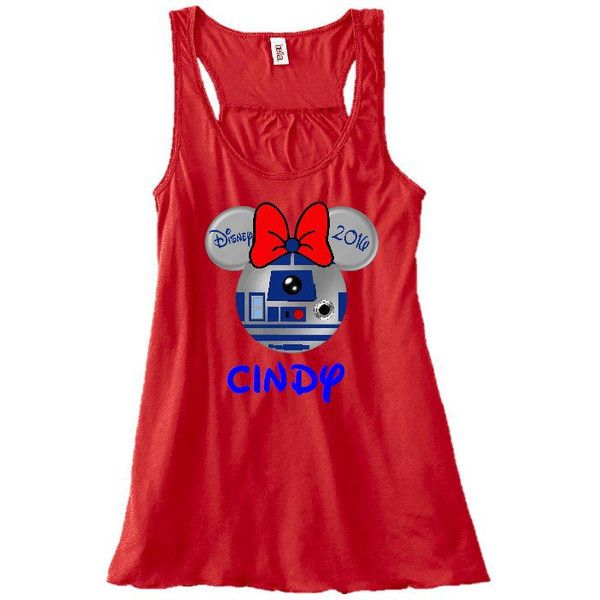 Disney Minnie Mouse r2d2 Starwars Family Vacation Flowy Tank Top... ($20) ❤ liked on Polyvore featuring tops, black, women's clothing, going out shirts, party tops, shirt tops, night out tops and holiday party tops