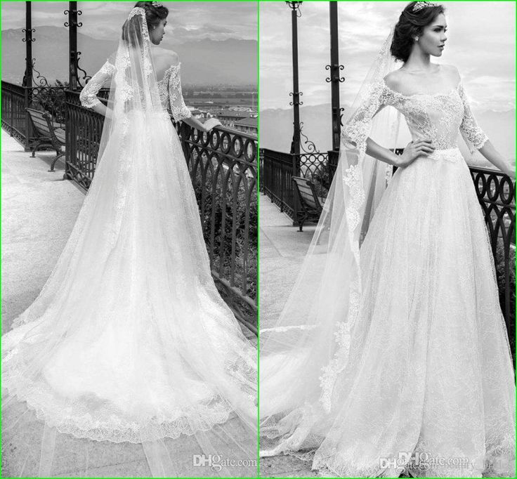 2015 A Line Off Shoulder Wedding Dresses With Half Sleeves Royal Princess Gown Cathedral Lace 1 2 Sleeve Sexy Bridal Dress