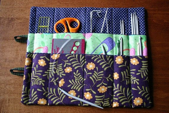 Patchwork knitting tools organizer crochet by BlueberryHillQuilts, $21.00