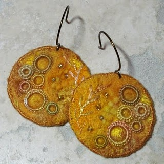 felted fiber earrings embellished with beads and embroidery - Kate Toft