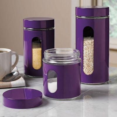 Purple Kitchen canisters. Purple Sofa, Purple Furniture, Purple Decor, Living room, Decor, Room Makeover, Modern Decor, Contemporary Furniture, Mid Century Furniture