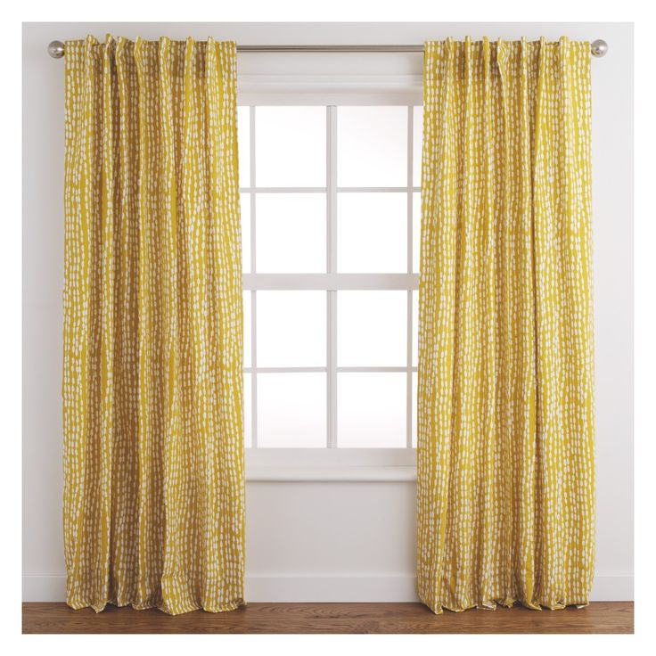 TRENE Pair of yellow patterned curtains 145 x 230cm | Buy now at Habitat UK
