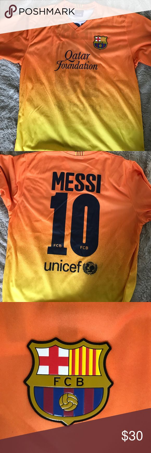 Qatar foundation Messi jersey Bought in Spain on vacation. Worn once, perfect condition. Bright colors FCB Shirts Tees - Short Sleeve