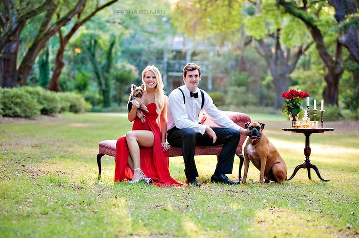 Love the idea of a tux and red dress for a styled engagement shoot...
