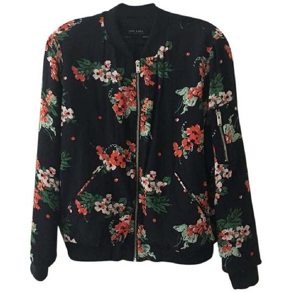 Zara Bomber Navy Floral Jacket ($10) ❤ liked on Polyvore featuring outerwear, jackets, navy blue jacket, floral jacket, navy bomber jacket, faux-leather jacket and collared bomber jacket