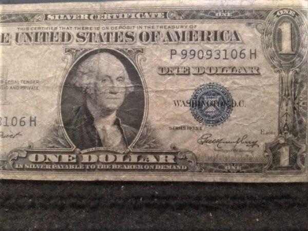 1935E United States Silver Certificate Blue Seal silver 1 Dollar Antique American Dollar Bill Cash P 99093106 H