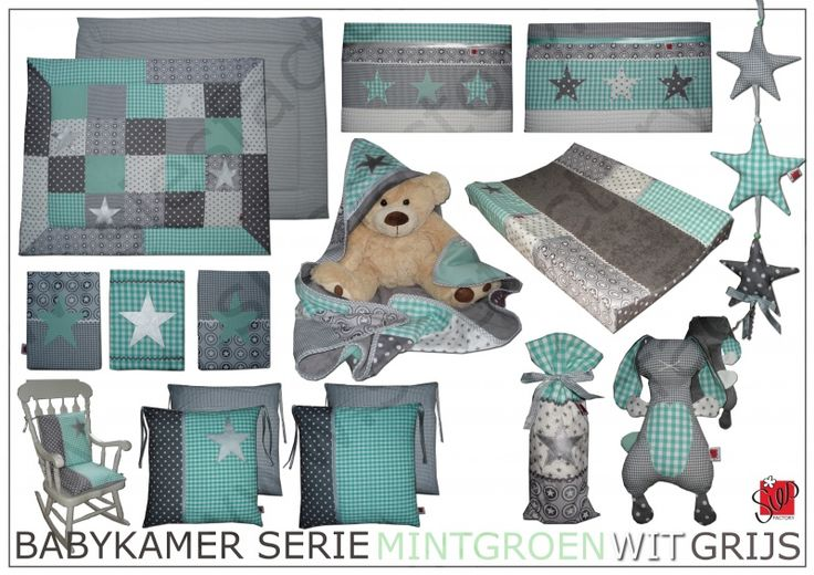 sterling silver jewellery Babykamer aankleding in grijs  wit en mint groen voor P    in opdracht gemaakt   Sies Factory