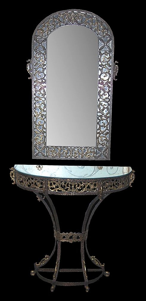 Oscar Bach Art Deco Mirror & Console Set