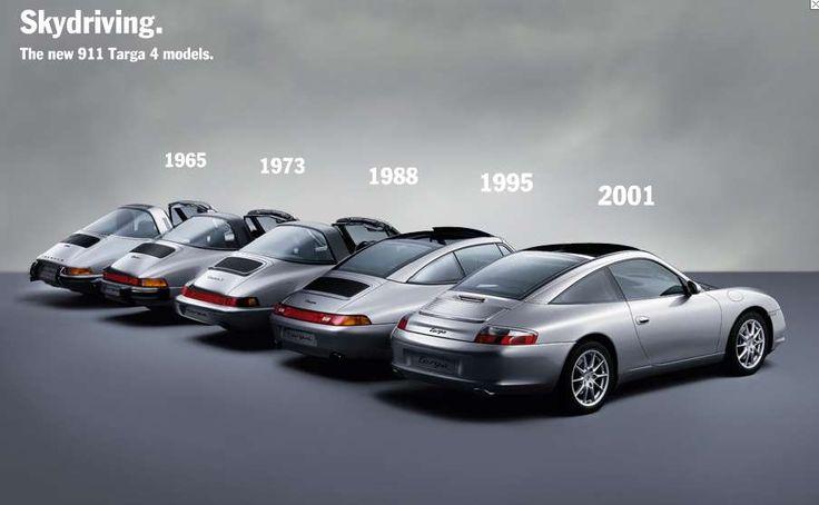 Gorgeous photo of the evolution of the Porsche Targa
