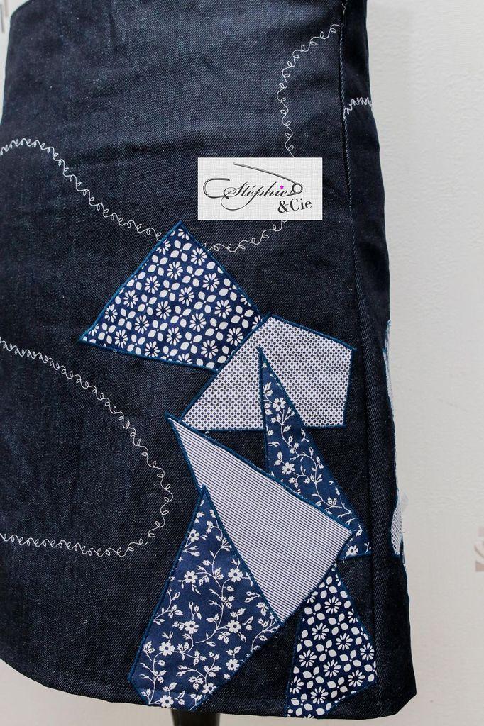 f946565a6e343 Jupe patchwork Diy Tuto tutoriel modele femme jean coton point bourdon  decoratif deco facile debutant bouton