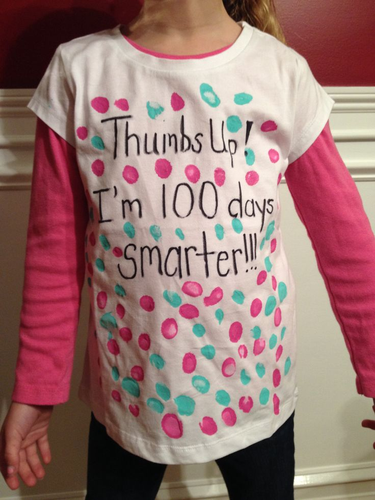 100th Day of School shirt idea. Super easy. My daughter enjoyed putting her thumbprints on it. Great for a kindergartner.