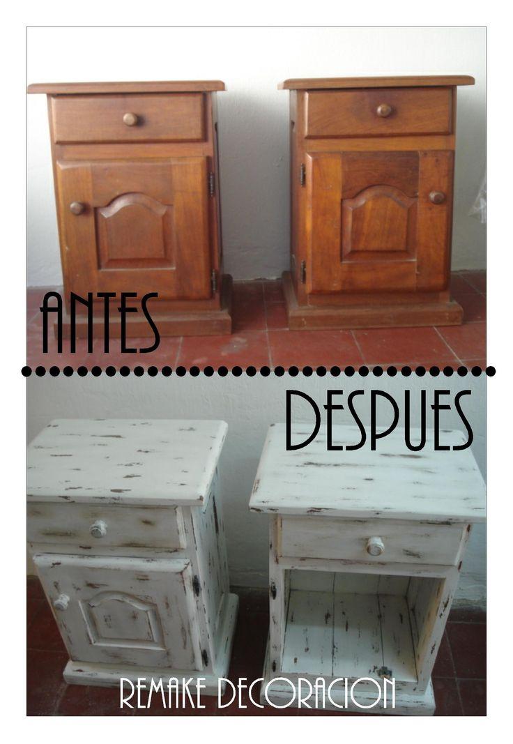Antes mesas de luz de algarrobo despues renovacion total - Pintar azulejos cocina antes y despues ...