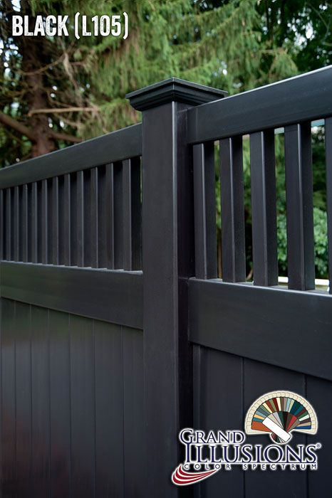 """Black PVC vinyl fence. Simple. Powerful. Elegant. It's no wonder that """"black vinyl fence"""" is becoming one of the most searched new fence styles on the internet."""
