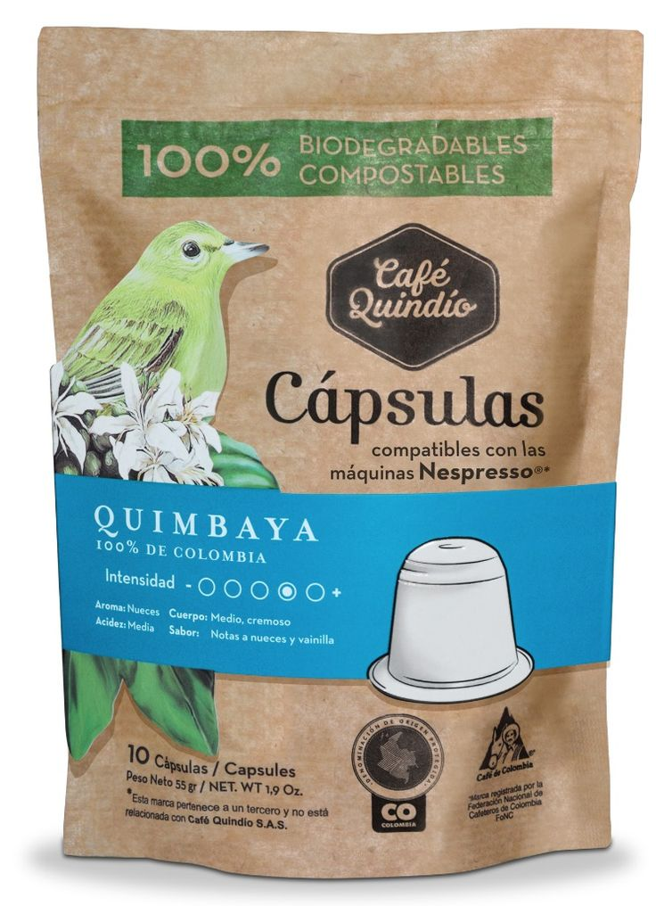 Café Quindío Quimbaya- Coffee Capsules (Compatible with Nespresso) 100% Biodegradables.