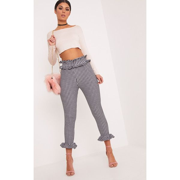 Keren White Gingham Frill Trousers ($18) ❤ liked on Polyvore featuring pants, white, cocktail pants, white trousers, gingham pants, ruffle pants and holiday pants