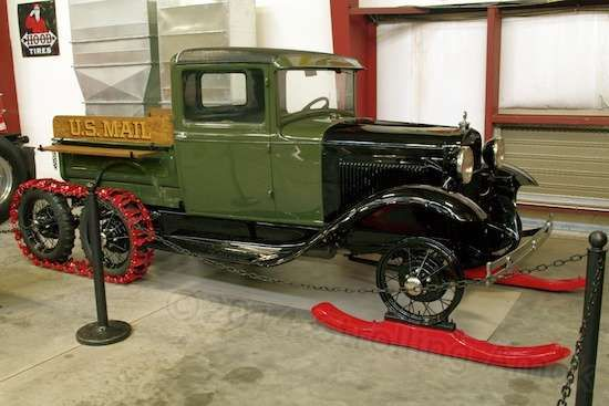 Snow Tracks For Trucks >> 1930 Ford Model A truck is fitted with skis and an extra axle for running tracks in the rear ...