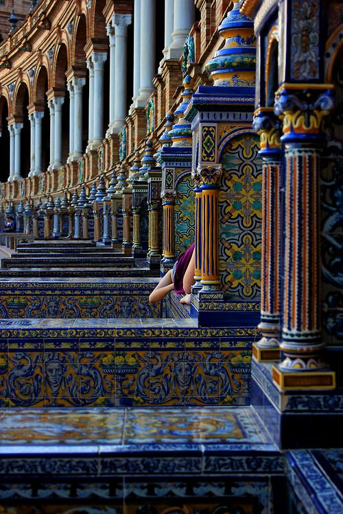 Tiled stairs and railings of Plaza de Espana, Sevilla, Spain.