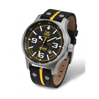 Relojes Vostok: Reloj Colección North Pole Piel Amarillo con Correa de Piel de color negro, amarillo y tachuelas.  http://www.tutunca.es/reloj-mecanico-carga-manual-vostok-north-pole-piel-negro-amarillo