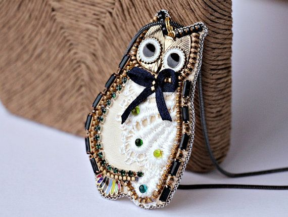 Owl hand embroidery.owl necklace.OWL beads.owl by MiracoliSpB $48.00 USD