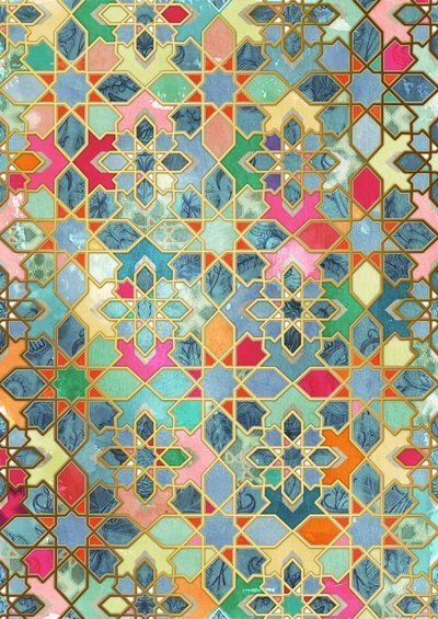 Pin 379 - 24/03/17 Filework - Morocco. Awesome design for stained glass insert in sliding door.