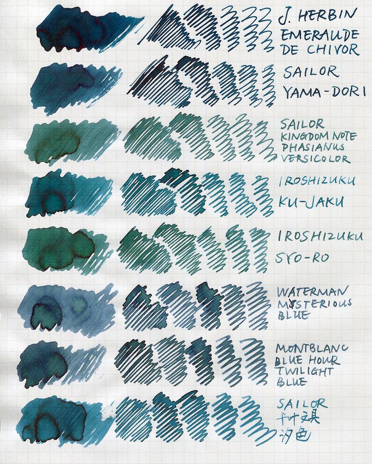 Page 1 of 2 - Are They Blue Or Green? Quick Comparison - posted in Ink Comparisons: With my latest purchase of Emerald of Chivor I wanted to do a comparison of some blue/green/blue-green/teal inks. Since Im lazy and dont want to fill then flush my pens, I used an R&K glass pen for this simple comparison. So these inks look more saturated in this scan and they might look different in a pen. The paper is Maruman loose leaf. To my eyes the scan is slighter bluer than/not ...