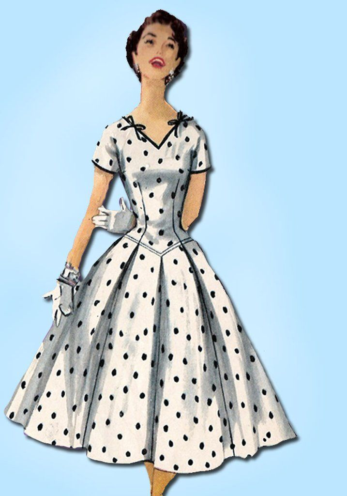 1950s Vintage Simplicity Sewing Pattern 1076 Misses Cocktail Dress Size 29 Bust