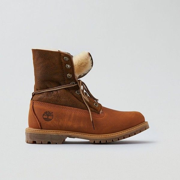 Timberland Shearling Fold-Down Boot ($180) ❤ liked on Polyvore featuring shoes, boots, neutral, foldable boots, foldable shoes, anti fatigue shoes, fold over shoes and american eagle outfitters boots