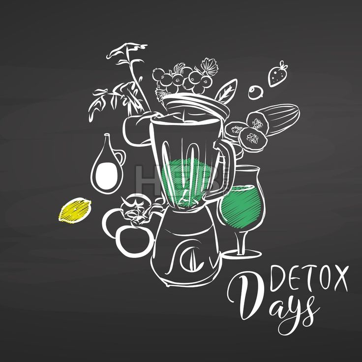 Detox days. Vegetables and Mixer on chalkboard. Hand drawn healthy food sketch. Black and White Vector Drawing on Blackboard. ... ... by #Hebstreit  #stockimage #design #sketch #illustration