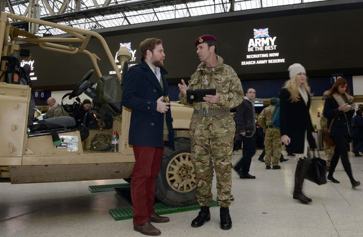 British Army Reserves recruiting stand at London Waterloo station