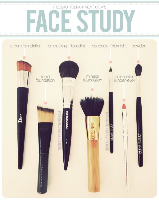 Which brush does what?Face Makeup, Beautiful Department, Tricks, Face Brushes, Apply Foundation, Makeup Brushes, Makeupbrushes, Hair, Face Study
