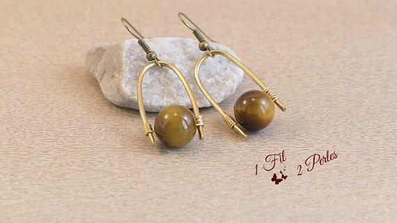 Boucles d'oreille Minimalistes Perles Oeil de Trigre