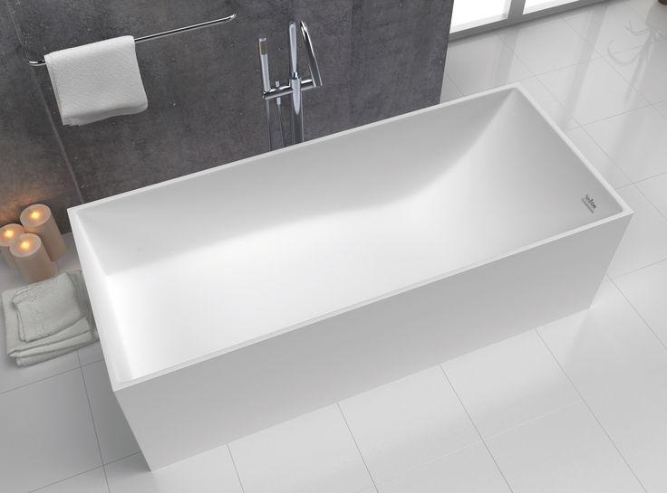 Bañera rectangular de bordes rectos fabricada material Solid Sanycces