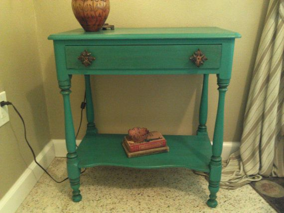 Vintage Two Tier Table with drawer Annie by RightUpMyAlleyDesign $205 Click here for more details. SOLD