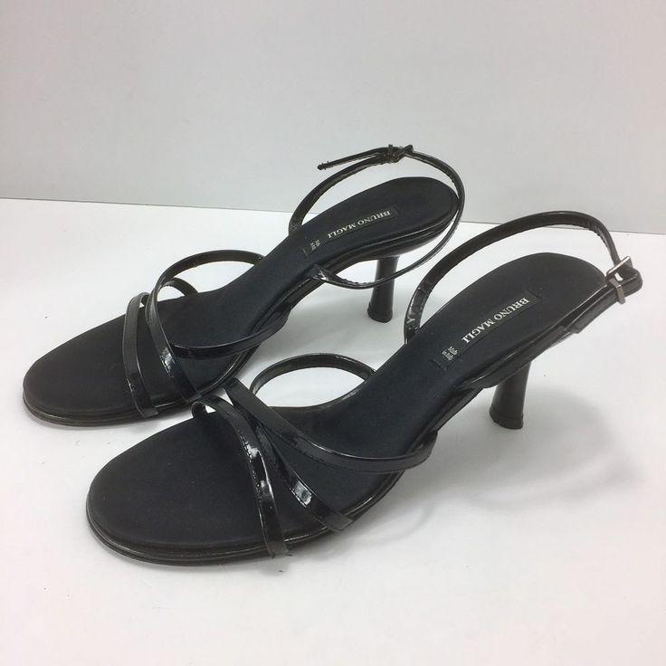 BRUNO MAGLI Womens Slingback High Heels Size 7AA Black Strappy Shoes Italy  | eBay