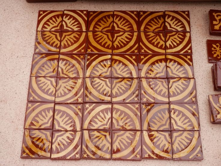Gothic flame tiles before installation in a floor, by Tanglebank Tiles